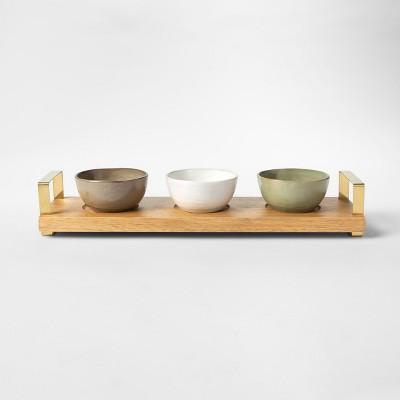 Cravings by Chrissy Teigen 4pc Tidbit Bowls with Wood Tray