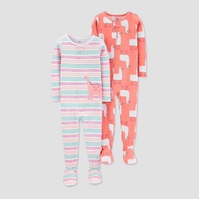Baby Girls' 100% Cotton 1pc Footed Pajama - Just One You® made by carter's Pink 12M