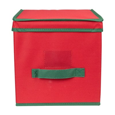 "Northlight 13"" Red and Green Christmas Ornament Storage Box with Removable Dividers"
