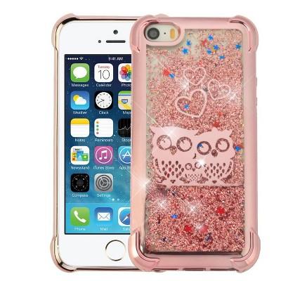 AIRIUM Confetti Quicksand Glitter Owl Hard Plastic/Soft TPU Rubber Case Cover For Apple iPhone 5/5S/SE, Rose Gold