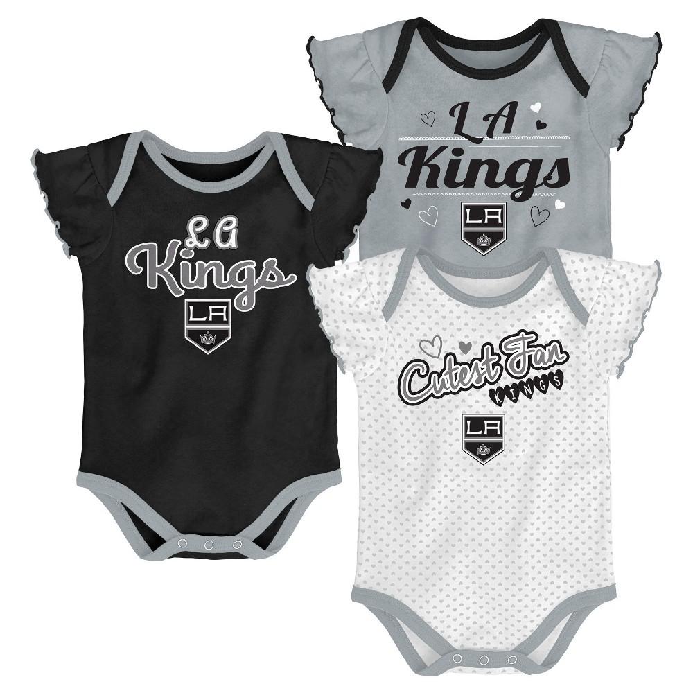 Los Angeles Kings Girls' Winning Goal 3pk Body Suit Set 3-6M, Multicolored