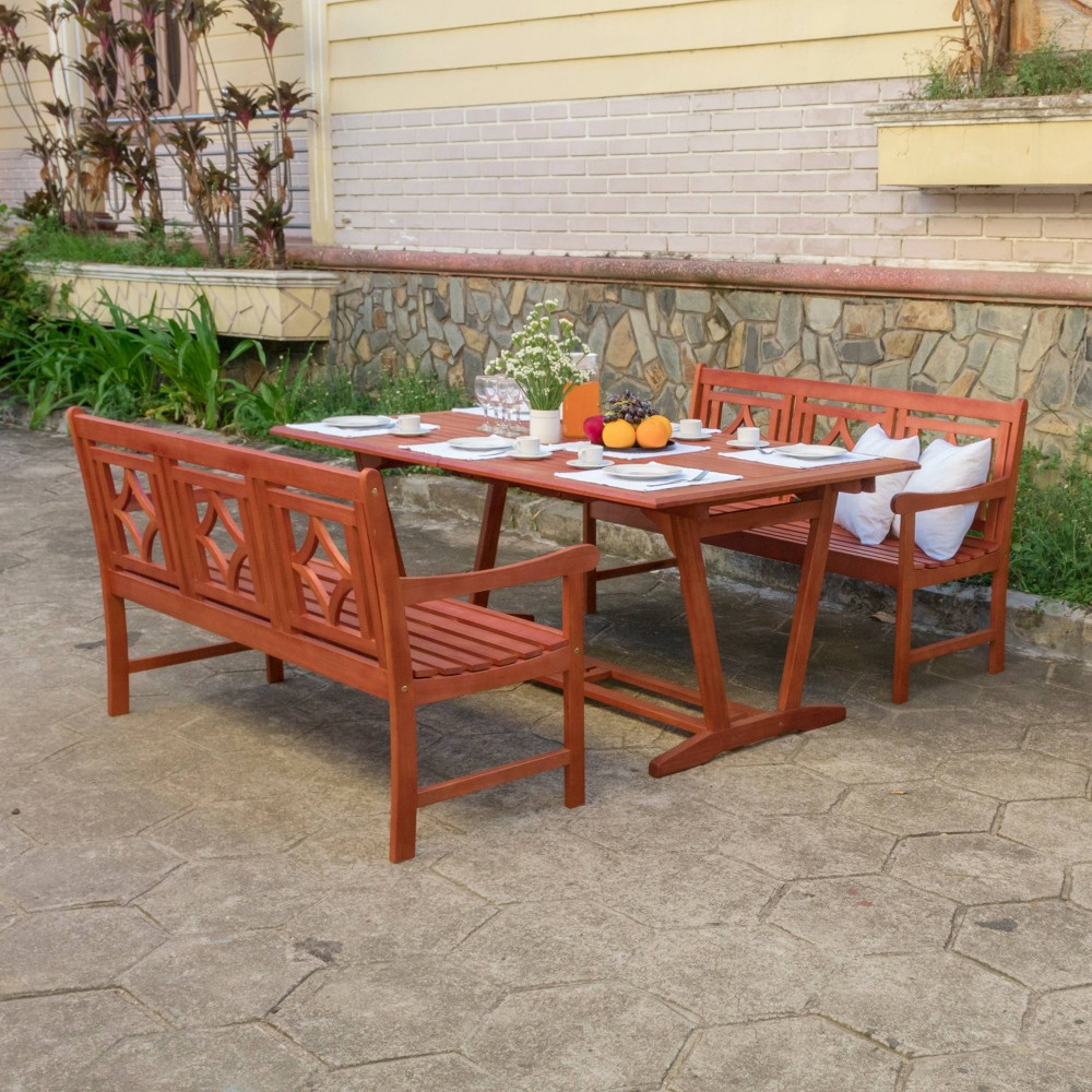 Malibu 3pc Wood Extendable Outdoor Patio Dining Set - Tan - Vifah