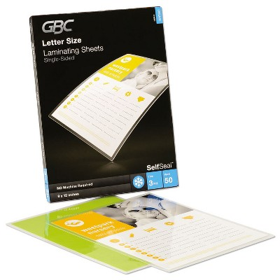 GBC® SelfSeal Single-Sided Letter-Size Laminating Sheets, 3 mil, 9 x 12 3747307