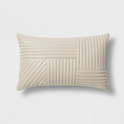 Faux Leather Lumbar Pillow Neutral - Project 62™ + Nate Berkus™