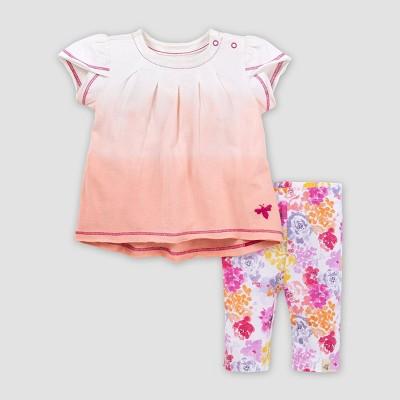 Burt's Bees Baby® Baby Girls' Organic Cotton Dip-Dyed Tunic and Capri Leggings Set - Pink 0-3M
