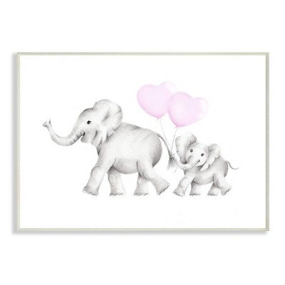 "10""x0.5""x15"" Mama and Baby Elephants Wall Plaque Art - Stupell Industries"