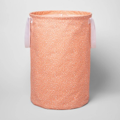 Soft Sided Scrunchable Round Laundry Hamper Pebble Dot Coral - Room Essentials™