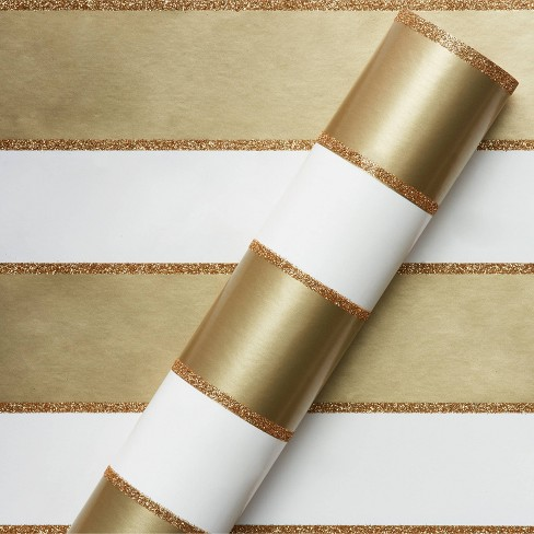 Stripes Wedding Wrapping Paper Gold - Spritz™ - image 1 of 3