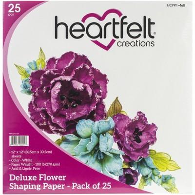"""Heartfelt Creations Flower Shaping Paper 12""""X12"""" 25/Pkg-White"""