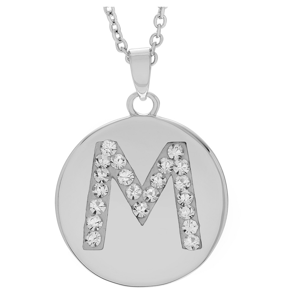 Women's Journee Collection Brass Circle Initial Pendant Necklace with Cubic Zirconia - Silver, M (17.75), Size: Medium, Silver Letter - M