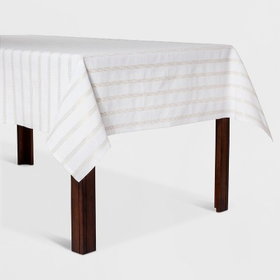 70x50  Metallic Stripe Tablecloth White/Gold - Opalhouse™