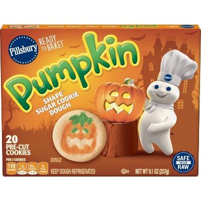 Pillsbury Ready to Bake Pumpkin Shape Sugar Cookie Dough - 9.1oz/20ct