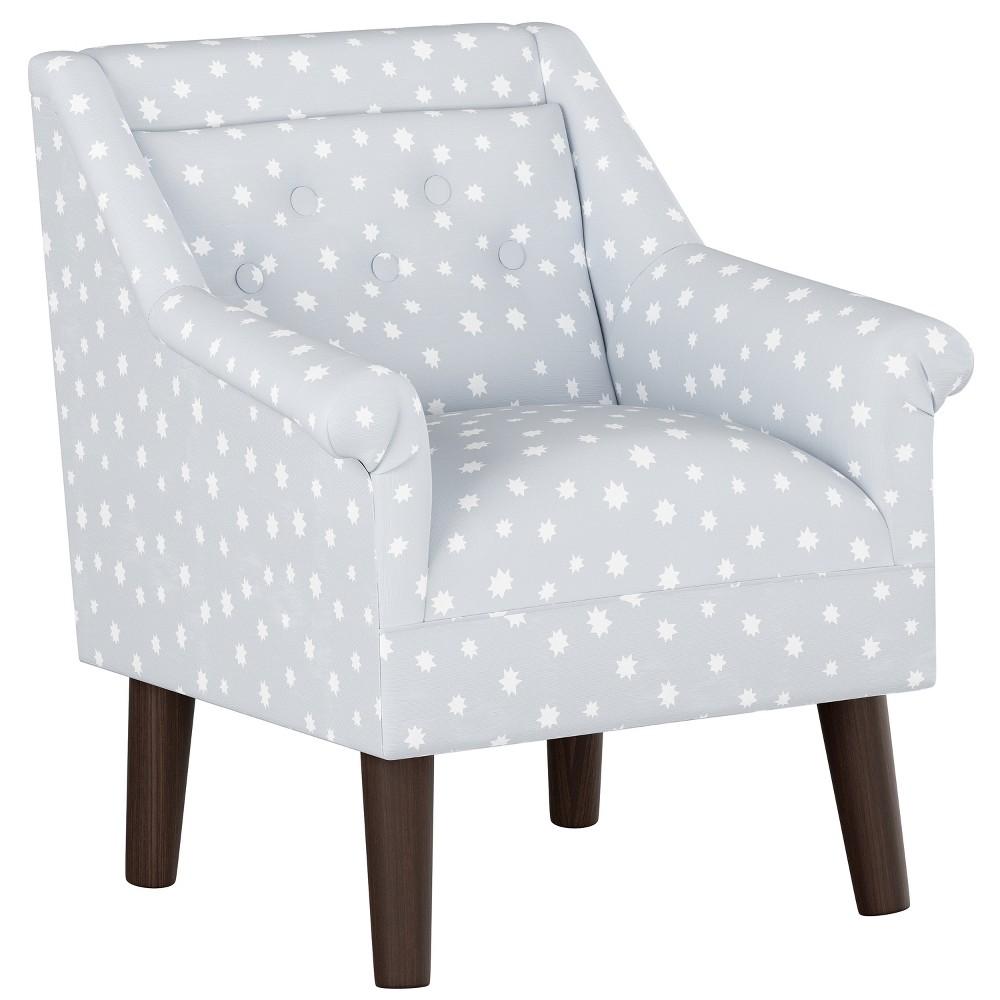 Kids Button Tufted Modern Chair Gray Stars with Espresso Legs - Pillowfort