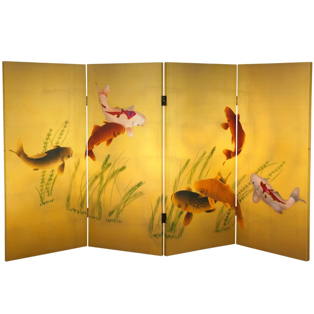 Image of 3' Tall Double Sided Seven Lucky Fish Canvas Room Divider - Oriental Furniture, Gold