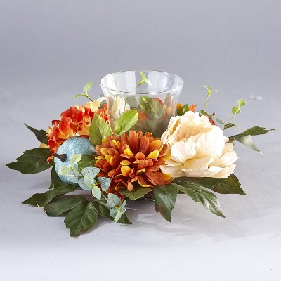 Lakeside Harvest Glass Candle Holder with Fall Flowers, Artificial Pumpkins