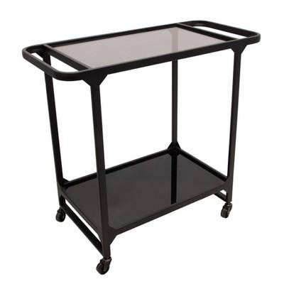 Metal and Glass Bar Cart Black - Sagebrook Home