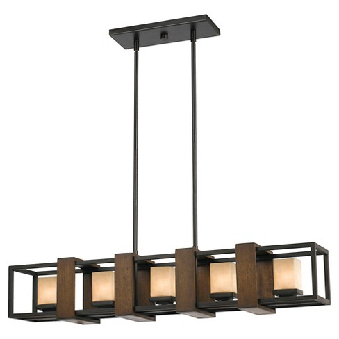 Cal Lighting's G9 Halogen Wood & Metal Island Chandelier - image 1 of 1