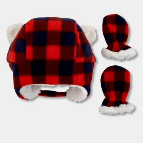 Baby Boys  Plaid Trapper Hat And Mitten Set - Cat   Jack™ Red   Target 6468b08574c