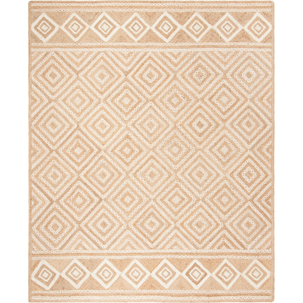 8'X10' Geometric Woven Area Rug Natural/Ivory - Safavieh, White