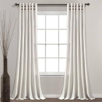 """84""""x40"""" Linen Button Pinched Pleat Light Filtering Window Curtain Panel - Lush Décor"""