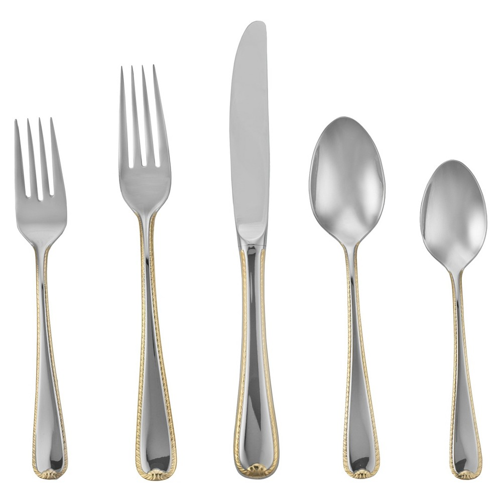Image of Gorham Golden Ribbon Edge 5-pc. Silverware Set