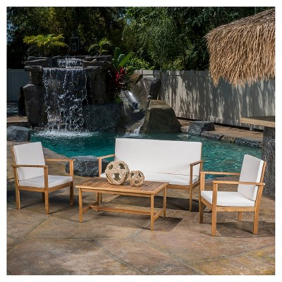 Luciano 4pc Acacia Wood Patio Chat Set with Cushions - Brown Patina - Christopher Knight Home
