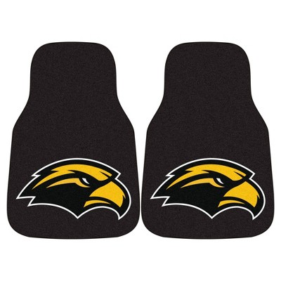 NCAA University of Southern Miss Golden Eagles Carpet Car Mat Set - 2pc