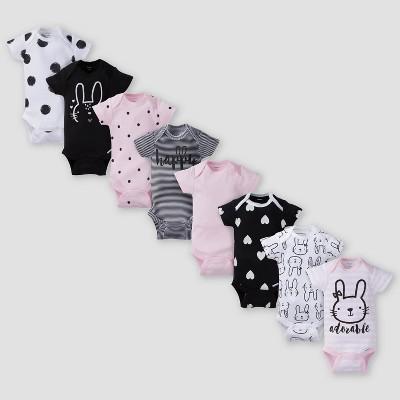 Gerber Baby Girls' 8pk Bunny Short Sleeve Onesies Bodysuit - Pink/Black NewBorn