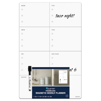 "Quartet 11"" x 17"" Frameless Dry Erase Magnetic Weekly Planner Board"