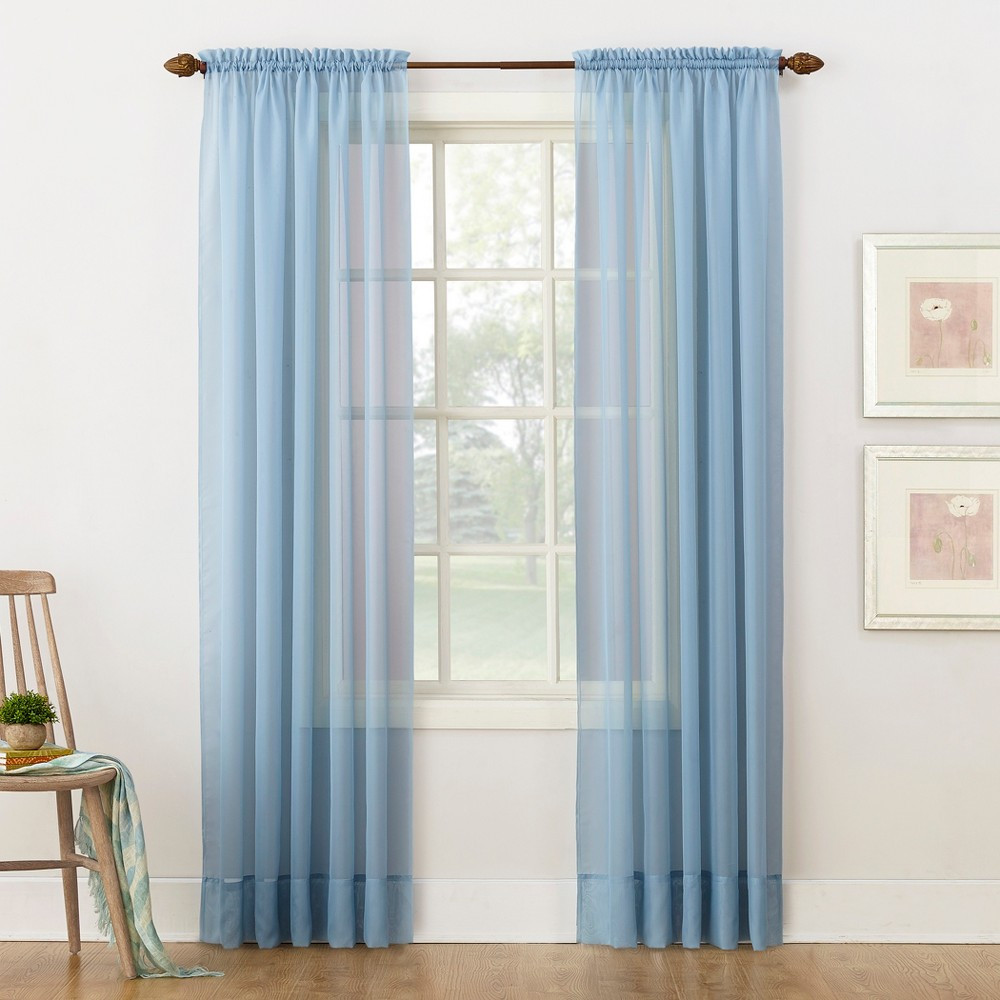 Emily Sheer Voile Rod Pocket Curtain Panel Dusty Blue 59