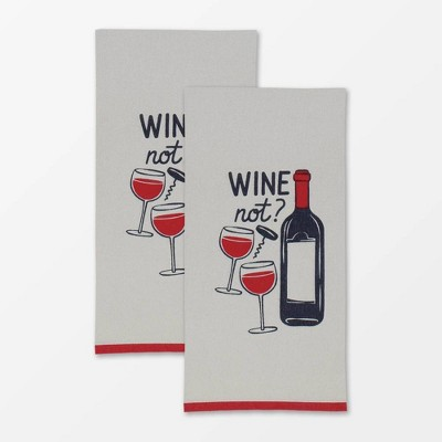 2pk Designer Wine Not Print Towel Gray - MU Kitchen