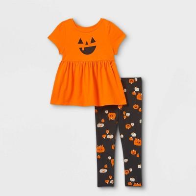 Toddler Girls' Short Sleeve Pumpkin Top & Halloween Leggings Set - Cat & Jack™ Orange/Black