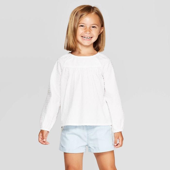 OshKosh B'Gosh Toddler Girls' Long Sleeve Blouse - White - image 1 of 3