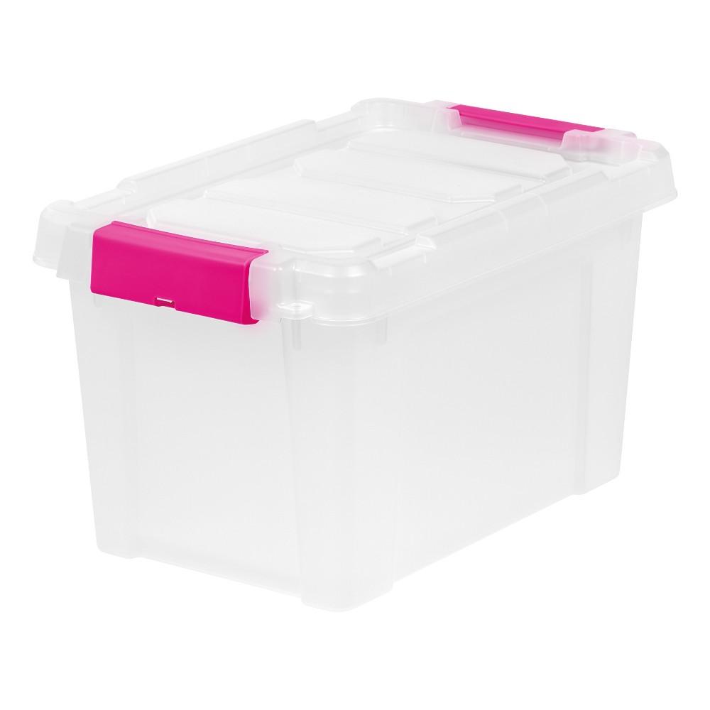 Iris 5 Gal. Heavy Duty Plastic Storage Bin - 6pk, Pink