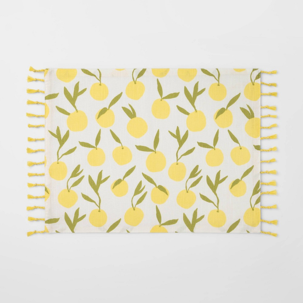 Bring the zest of summer to your casual tablespace with this Lemons Rectangular Placemat from Opalhouse?. This rectangular placemat is designed with an allover lemon print on a cream backdrop to add a refreshing appeal to your dining space, while tassel detailing along the sides adds extra charm to your decor. Crafted from 100percent cotton for softness and durability, this rectangular placemat protects your table from scratches and spills that come with everyday life. Pair with similar table linens for a complete look, or mix and match with floral or other fruit patterns for a fun twist to your dinner layout. This is your house. Where you create spaces as bold as your spirit. Collect objects as inspired as your dreams. Find pieces that remind you of every place you\\\'ve been. Discover stories to inspire everywhere you have yet to go. This is Opalhouse. We?re committed to making products better for you, and the world. This product is STANDARD 100 by OEKO-TEX? certified, meaning that everything from the dyes and fabrics to accessories like buttons and zippers are tested and verified as free from harmful levels of more than 300 substances. Gender: unisex. Pattern: Leaf.