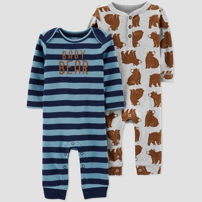 Baby Boys' 2pk Bear Stripe Jumpsuits - Just One You® made by carter's 6M Blue