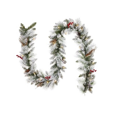 Noma Snow Dusted Berry and Pinecone 9 Foot Pre Lit 162 PE and PVC Pine Needle Christmas Garland Indoor and Outdoor Home Holiday Mantle Decor