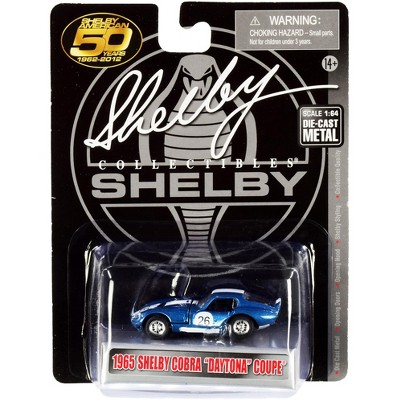 """1965 Shelby Cobra Daytona Coupe #26 Blue Met. w/White Stripes """"Shelby American 50 Years"""" 1/64 Diecast Car by Shelby Collectibles"""