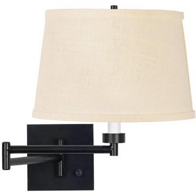 Franklin Iron Works Modern Swing Arm Wall Lamp Espresso Plug-In Light Fixture Cream Burlap Drum Shade Bedroom Bedside Living Room