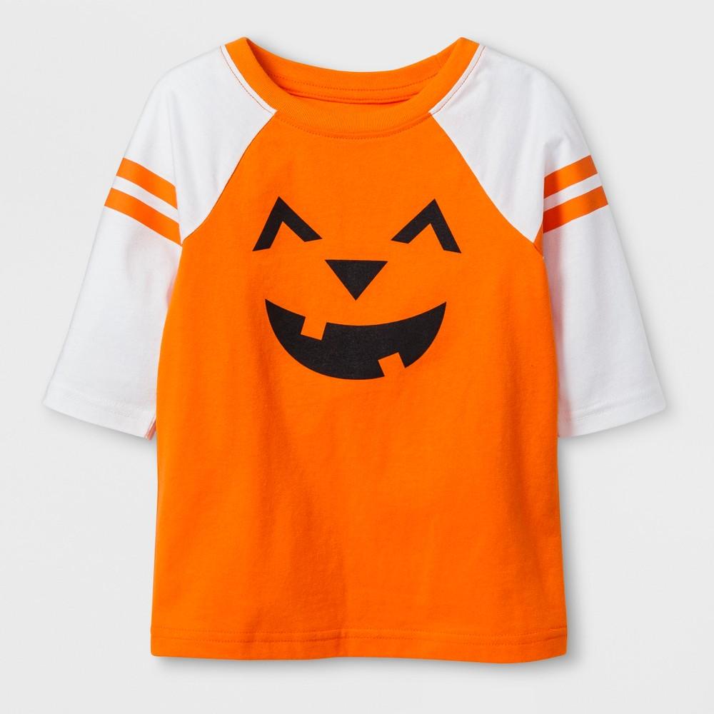 Toddler 3/4 Sleeve Jack'o'Lantern Raglan T-Shirt - Cat & Jack Orange 4T, Toddler Unisex