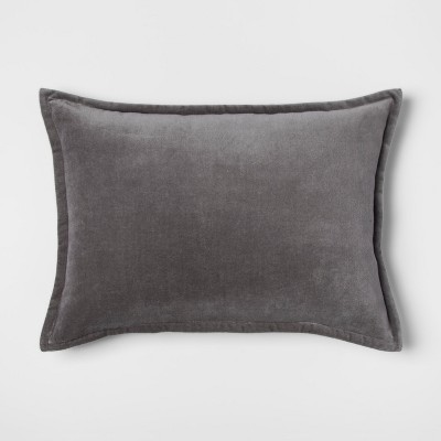 Gray Velvet Lumbar Throw Pillow - Threshold™