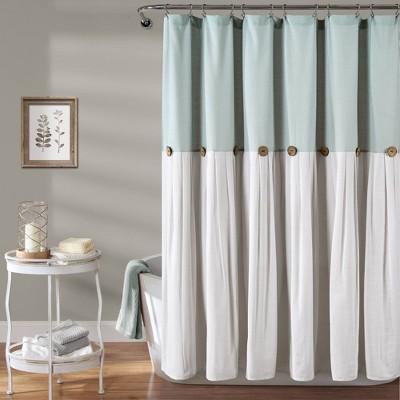Linen Button Shower Curtain Blue - Lush Décor
