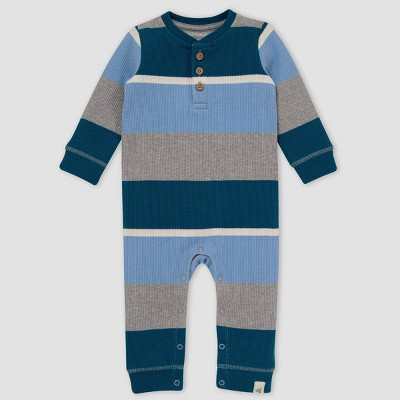Burt's Bees Baby® Baby Boys' Tipped Rugby Striped Thermal Jumpsuit - Sky Blue