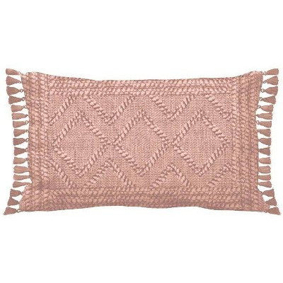 Woven Textured Diamond Lumbar Pillow Peach - Opalhouse™