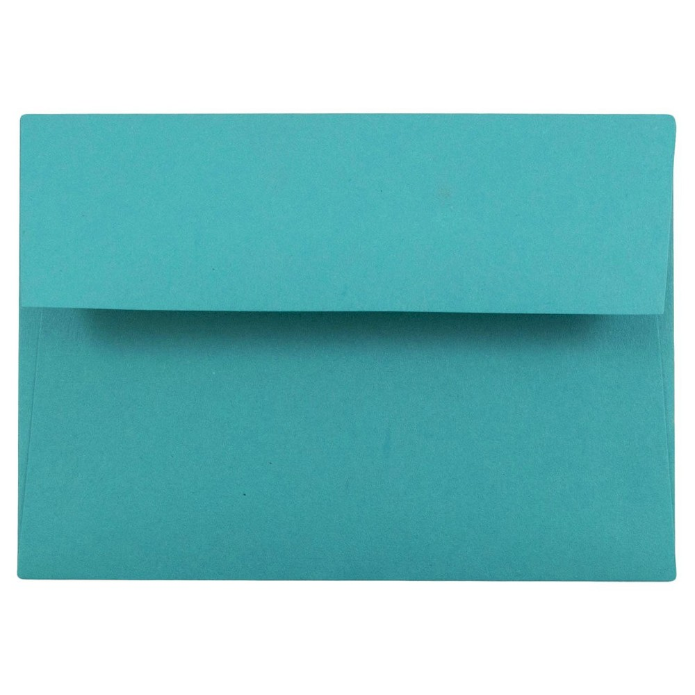 Jam Paper Brite Hue 4bar A1 Envelopes, 3 5/8 x 5 1/8, 50 per pack, Sea Blue, Sea Mist