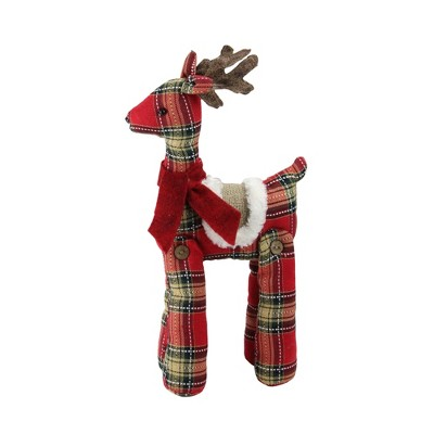 """Northlight 16.5"""" Red and Brown Plaid Standing Reindeer Christmas Decoration"""