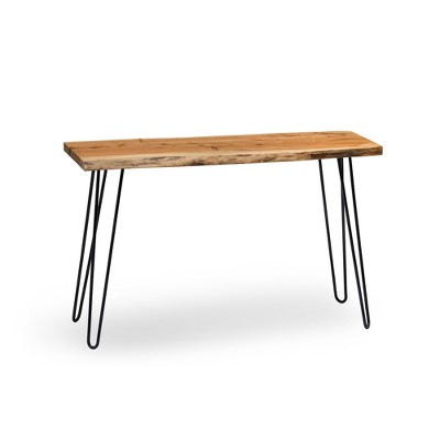 Alaterre Furniture Hairpin Natural Brown Live Edge Media Console Table Metal And Wood