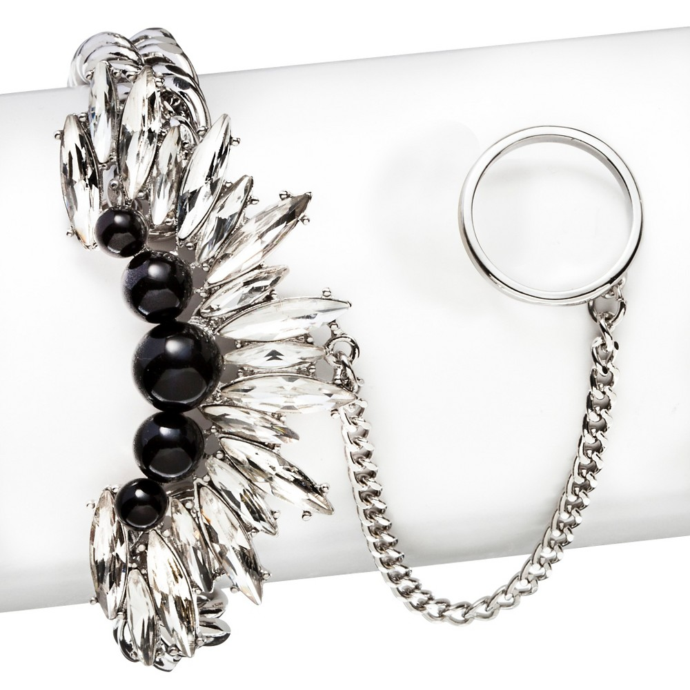 Image of 8 Other Reasons Simulated Pearls and Glass Stone Handchain Bracelet - Silver, Night Black