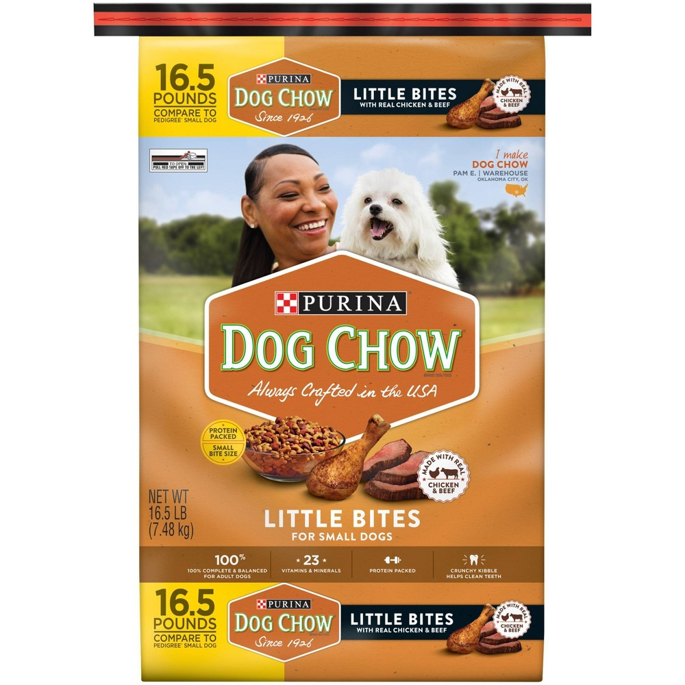 Purina Dog Chow Little Bites With Real Chicken 38 Beef Small Dog Complete 38 Balanced Dry Dog Food 16 5lbs