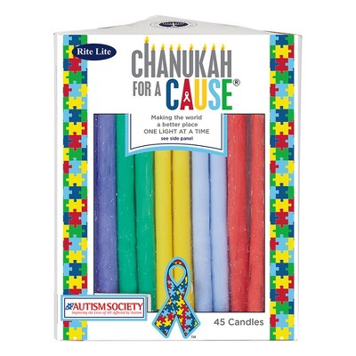 """Rite Lite Club Pack of 45 Vibrantly Colored 'Hanukkah for a Cause' Autism Candles 5"""""""